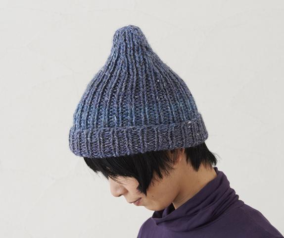 ジャンボ編みで編む とんがりゴム編み帽子